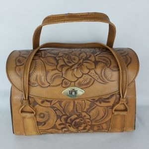 Tooled leather hand bag purse made in Mexico